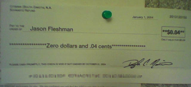 'Pay to the order of Jason Fleshman: Zero dollars and 04 cents'