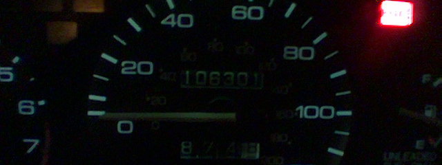 [The odometer after the trip back: 106,301 miles.]